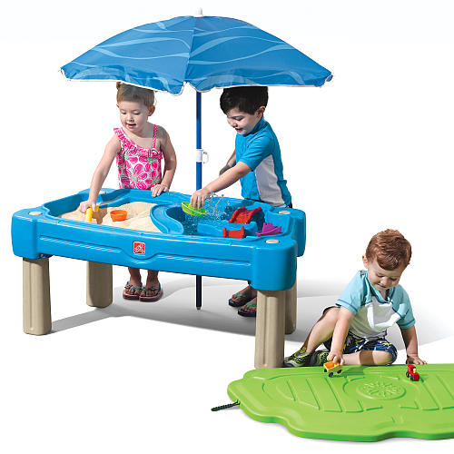 step2 cascading cove sand and water table w umbrella best educational infant toys stores singapore. Black Bedroom Furniture Sets. Home Design Ideas