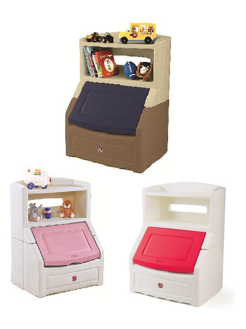 Step2 Lift Hide Book Case Storage Chest Blue Pink Red