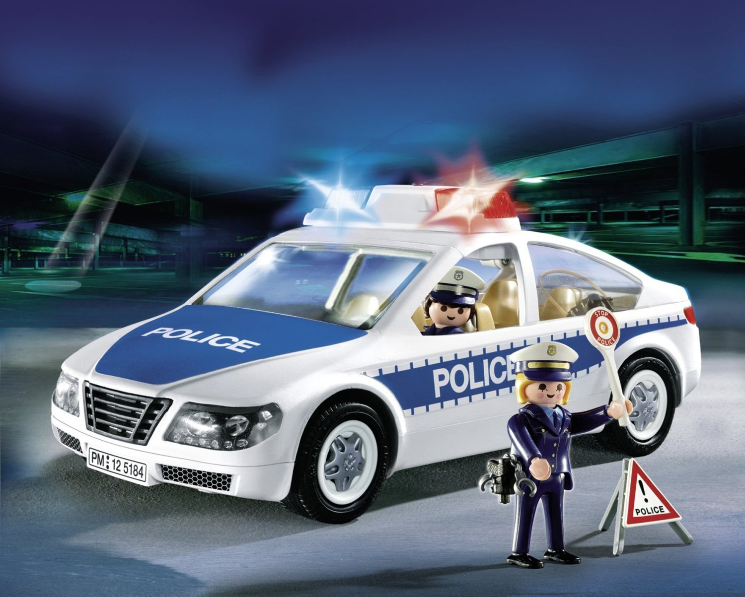 playmobil police car with flashing light - best educational infant