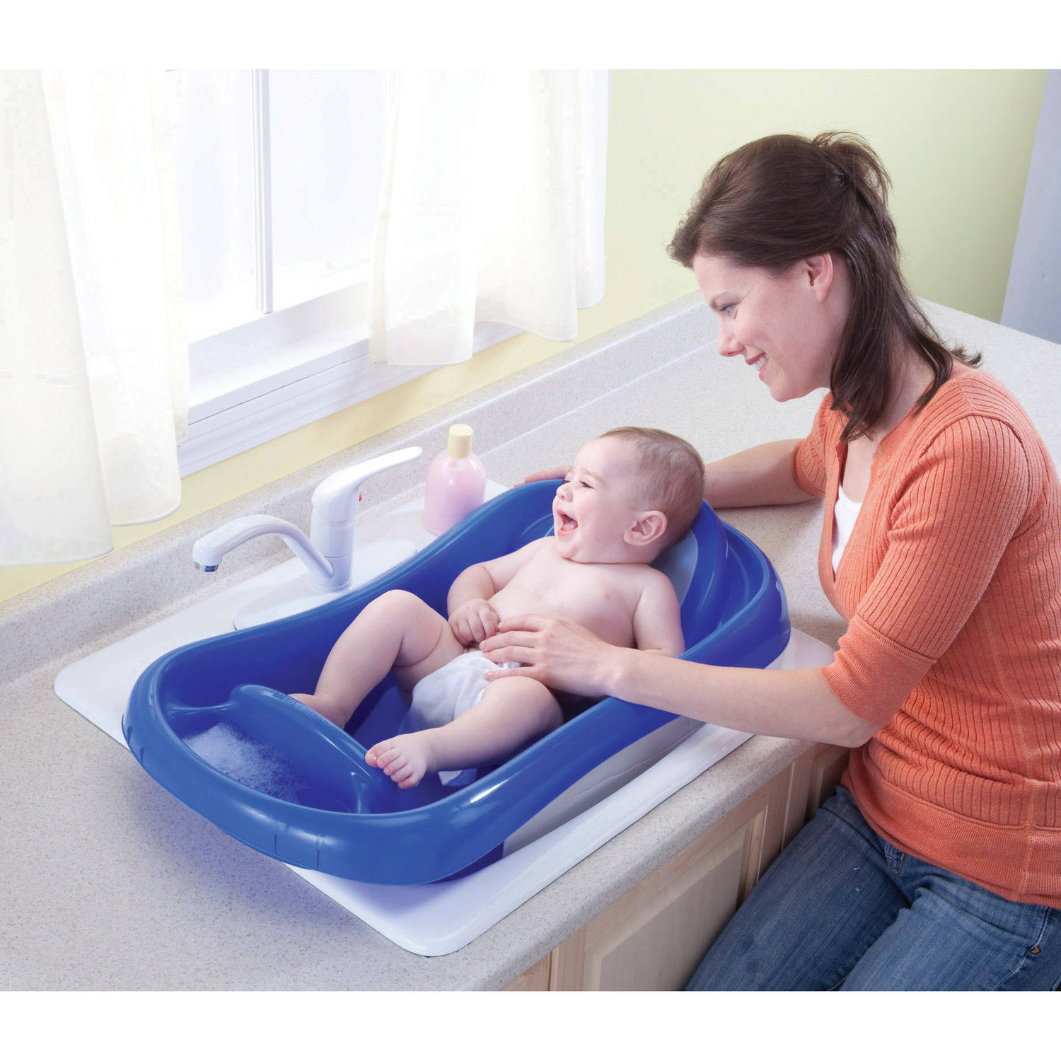 Deluxe Newborn To Toddler Tub (Blue) baby bath tub w/sling - Best ...
