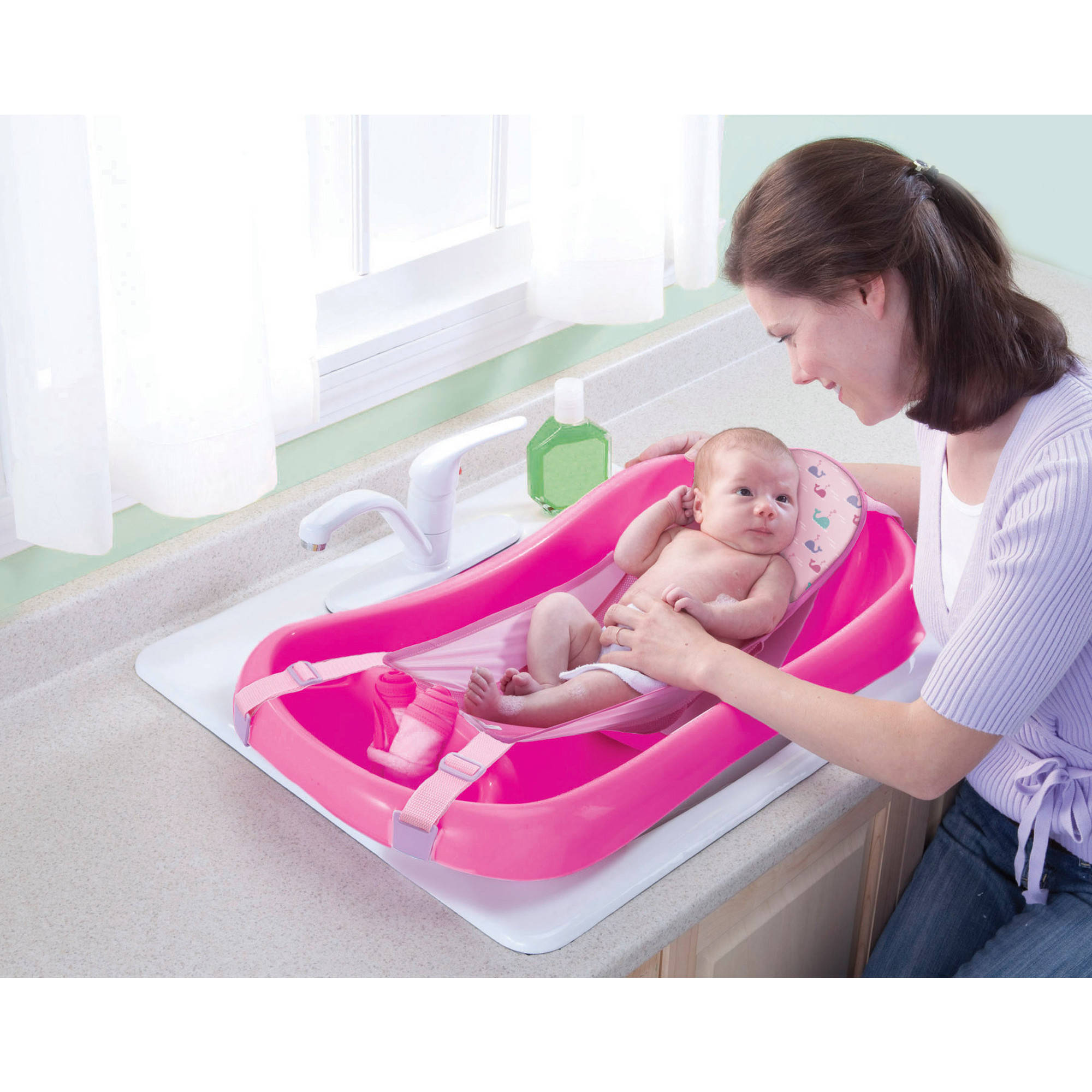 deluxe newborn to toddler tub pink baby bath tub w sling best educational. Black Bedroom Furniture Sets. Home Design Ideas