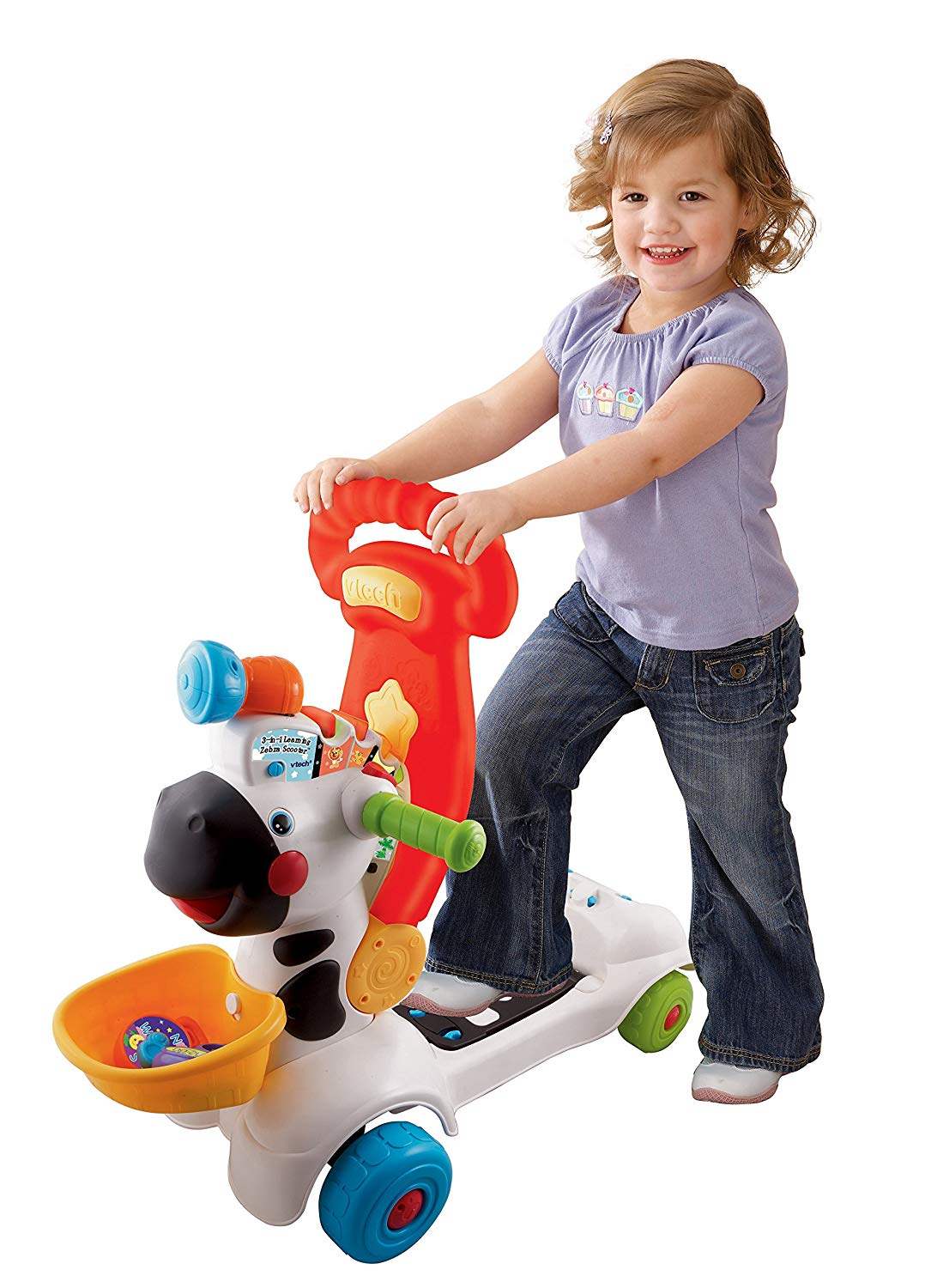 Vtech 3 in 1 Learning Zebra Scooter Ride On (White/Pink ...