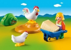 Playmobil 1.2.3 Farmer's Wife with Hens
