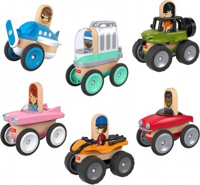 Fisher Price Wonder Makers Design System Wooden Vehicles 6 Pack