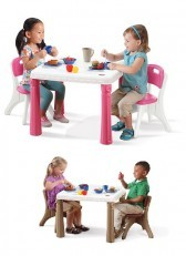Step2 Lifestyle Kitchen Table and & Chairs Set (Pink/Tan)