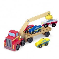 Melissa & Doug Magnetic Car Loader Wooden Toy Set