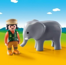Playmobil 1.2.3 Zoo Keeper with Elephant 9381
